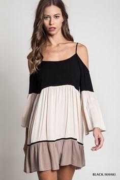 Color Block Cold Shoulder Dress