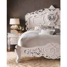 Vintage Glam Bedroom Furniture | Rococo Mahogany Carved White Wood Bed by Horchow - Photo