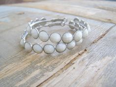 Boho Retro White Hoop Earrings Bold silver & white by MeshuMaSH, $24.00