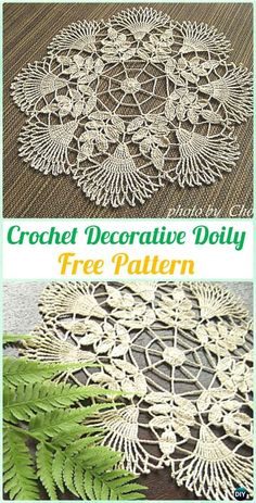 Diy Crafts - A collection of crochet doily free patterns. Crochet doilies can be easy and experienced, they are basically crochet rounds, but changed Free Crochet Doily Patterns, Crochet Motifs, Crochet Squares, Thread Crochet, Crochet Stitches, Free Pattern, Knitting Patterns, Diy Crafts Crochet, Crochet Home
