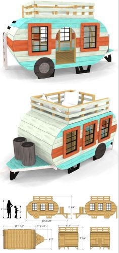 Popsicle Stick Houses, Popsicle Stick Crafts, Craft Stick Crafts, Happy Campers, Trailer Decor, Build A Playhouse, Diy Dollhouse, Play Houses, Planer