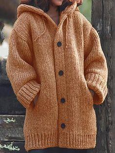 Button Down Hooded Knitted Cardigan Plus Size Outerwear Oversize Knitwear Sweater Coat Cardigan Plus Size, Plus Size Cardigans, Chunky Cardigan, Hooded Cardigan, Sweater Cardigan, Sweater Outfits, Warm Sweaters, Sweater Coats, Sweaters For Women