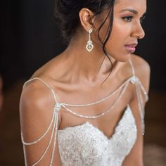 Shoulder jewelry from Bel Aire Bridal Style SH209 and earrings Style EA205.