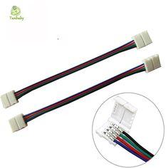 Tanbaby 10ピース10ミリメートル4ピン2 rgbコネクタワイヤーアダプターsmd 5050 rgbカラー不要はんだ付けストリップにストリップ