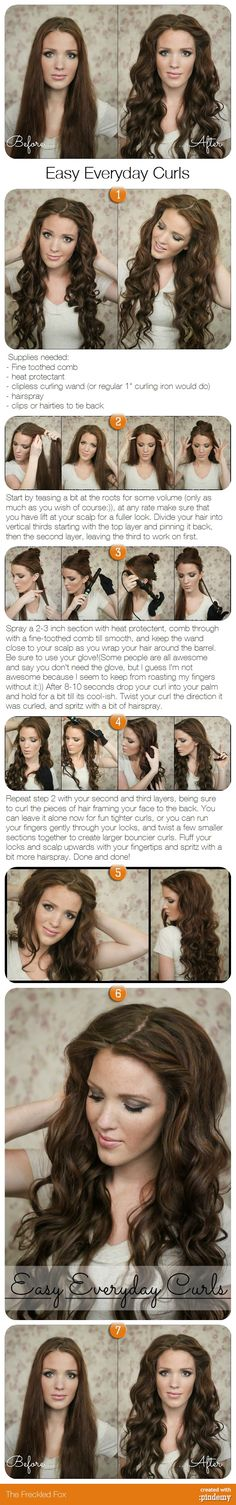 Easy Everyday Curls tutorial - don't know about easy, as it would take me forever, but maybe it would work! Easy Everyday Curls tutorial - don't know about easy, as it would take me forever, but maybe it would work! My Hairstyle, Pretty Hairstyles, Wedding Hairstyle, Summer Hairstyles, Latest Hairstyles, Hairstyles Haircuts, Braided Hairstyles, Babyliss Curl Secret, Everyday Curls