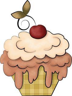 "Photo from album ""Strawberry Chocolate"" on Yandex. Cupcake Illustration, Window Mural, Food Clipart, Circle Game, Cupcake Art, Cupcake Heaven, Cute Cupcakes, Chocolate Strawberries, Paper Piecing"