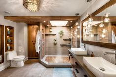 Thinking about Bathroom Decor? Here are 35 Stunning Ideas for Tropical Bathroom Decor. Best interior design and decorations for your dream bathrooms. Spa Like Bathroom, Dream Bathrooms, Bathroom Ideas, Glass Bathroom, Peach Bathroom, Brown Bathroom, Bathroom Remodeling, Remodeling Ideas, Tropical Bathroom Decor