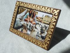 Photo Frame Vintage Style Gift Walnut Free Shipping Wood Engraving Home Decor Wedding Doves Birthday Handmade Picture Unique Design by HearthstoneBoxReplic on Etsy