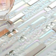 TST Glass Metallic Tile Super White Silver Wave Glass Brushed Aluminium for Kitchen Bath Backsplash  http://www.tstmosaictiles.com/TST-Glass-Metal-Tile-Frosted-Glass-Silver-Steel-Glitter-Bathroom-Deco-Art-Mosaics