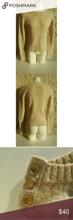 Anthropologie Sweater, Tweed, Charlie and Robin This sweater is gorgeous and so unique!! It is a creamy tweed, with three button detail on the right shoulder. A perfect piece for a holiday office party!! **All purchases come with a FREE gift!!** Anthropologie Sweaters Crew & Scoop Necks