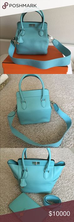 """Hermes 20cm Toolbox in Blue Atoll PHW Authentic, brand new. Really small cute bag. Purchased in 2014 summer, t stamp, swift calfskin, measures 8"""" X 8.5"""" X 6"""", 3 big pockets, adjustable strap, silver and palladium hardware. Color is 3p atoll blue. No TRADE I also have tons of Hermes boxes and other brands boxes to sell, just ask me. Hermes Bags Satchels"""