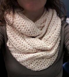 Easy Twisted Cowl -crochet  free pdf, if you are a member of craftsy