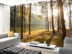 A New Day in the Forest wall mural room setting