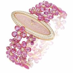 Diamond Watches Collection : its-mademoiselle-love:Sapphire and tourmaline watch by Chopard via: High Jewelry, Bling Jewelry, Jewelry Box, Jewelry Watches, Jewelry Accessories, Jewellery, Saphir Rose, International Jewelry, Fuchsia