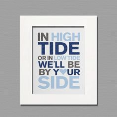 Blue and Gray Nursery Wall Art Nautical Typography or Canvas or Print for Baby Boy