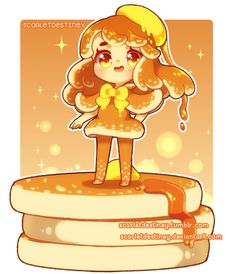 Pancake (Remake) by ScarletDestiney on DeviantArt Chibi Kawaii, Kawaii Doodles, Cute Anime Chibi, Kawaii Anime, Cute Food Drawings, Cute Kawaii Drawings, Cute Animal Drawings, Kawaii Girl Drawing, Arte Do Kawaii