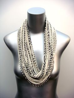 Stripe Womens Boho Necklace Jersey Scarf Infinity Circle Scarves Loop Eternity Black Organic Fabric Jewelry unique Tribal Bohemian. $42.00, via Etsy.