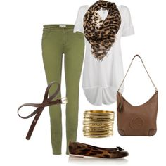 """""""Olive + Leopard Print"""" by august29 on Polyvore"""
