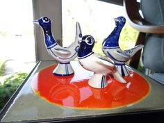 This is a vintage pottery candle holder by the Danish brand Søholm.  3 different birds style candle holders as a set.A hand made product by  Ejnar Johansen in the 1960's and produced by Søholm Pottery on Bornholm (a Danish island).  It is a wonderful vintage home decor for you; especially, for your desk, window, and coffee table decor. Different Birds, Candle Sticks, Decorating Coffee Tables, Vintage Pottery, Vintage Home Decor, Ceramic Pottery, Danish, Candle Holders, Blue And White