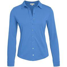 Cotton Jersey Shirt (4.390 RUB) ❤ liked on Polyvore featuring tops, shirt top, blue top, cotton jersey shirt, blue shirt and cotton jersey