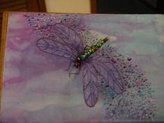 Stumpwork dragonfly made on a box lid.
