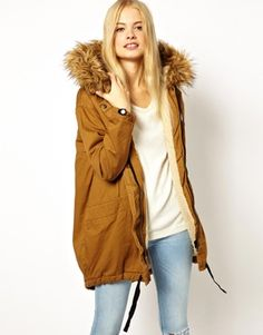 Image 1 of ASOS Cocoon Parka With Oversized Fur Trim Hood