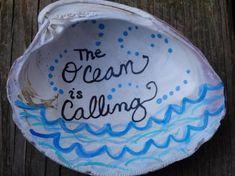 Seashell Art The Ocean is Calling Hand Painted Seashell Seashell Painting, Seashell Art, Seashell Crafts, Mermaid Crafts, Ocean Crafts, Beach Crafts, Painted Rocks, Hand Painted, Seashell Ornaments