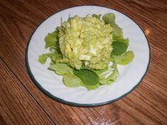 Avocado Egg Salad  1 ripe avocado 1 tablespoon GF prepared yellow mustard or GF Dijon mustard 1/4 teaspoon ground white pepper 1 tablespoon lemon juice 5-6 hard-boiled eggs (use 5 if they're extra large) salt to taste 1 cup low oxalate greens, such as Romaine or Arugula