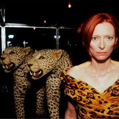 Tilda with the Leopards, Paris, 2008 By Nan Goldin @musée de la chasse et de la nature this picture is crazy