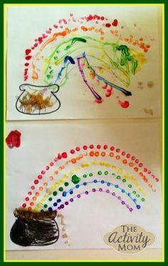 Rainbow Q-Tip Painting
