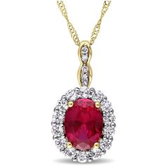 Created Ruby, White Topaz And Diamond Accent Pendant ($246) ❤ liked on Polyvore featuring jewelry, pendants, yellow, oval pendant, yellow pendant, chain pendants, chain jewelry and yellow jewelry