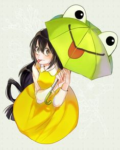 boku no hero academia, tsuyu, and froppy image Manga Anime, Anime Chibi, Kawaii Anime, Anime Art, Boku No Hero Tsuyu, Asui Boku No Hero, Tsuyu Asui, My Hero Academia Tsuyu, My Hero Academia Manga