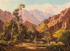 View Mountainous Landscape with Cottage By Tinus de Jongh; Oil on canvas; Access more artwork lots and estimated & realized auction prices on MutualArt. Love Art, All Art, South Africa Art, South African Artists, Old Paintings, Oil On Canvas, Art Websites, Cottage, Landscape