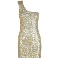 Gold Sequin Embellished White One Shoulder Dress ($7.62) ❤ liked on Polyvore featuring dresses, one shoulder dress, white gold dress, one-sleeve dress, gold cocktail dress and white cocktail dresses