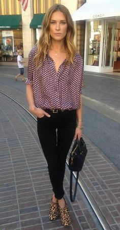 love the blouse's pattern paired with animal print heels. great mix.