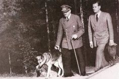 Hitler taking Blondi for a walk.