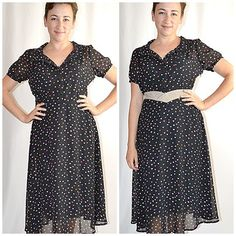 Vintage Retro 1940s Style Black Heart Print Fit and Flare Day Dress Sz M by ChrisMartinDesigns on Etsy