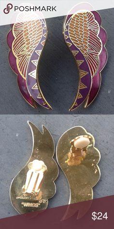 """Laurel Burch """"Wings"""" Clip Earrings Pinks and purple on goldtone metal in s wing design. This design by Laurel Burch is called """"Wings"""". 2"""" Laurel Burch Jewelry Earrings"""