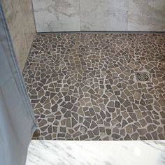 Tips on Cleaning Marble Mosaic Tile — Luxury Comforter Bedspread Mosaic Tile Shower Floor, Pebble Shower Floor, Grey Mosaic Tiles, Bathroom Floor Tiles, Marble Mosaic, Bathroom Marble, Mosaic Floors, Tile Flooring, Bathroom Grey