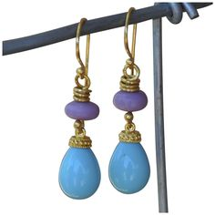 24K Gold Vermeil Wire Wrapped Phosphosiderite and Shell Pearl Earrings from marciasouthwick on Ruby Lane
