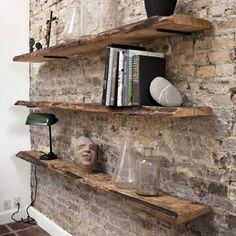 Marvelous Ideas: Floating Shelves Over Tv Bedrooms floating shelves arrangement . - Floating Shelves Ideas - Shelves in Bedroom Rustic Wall Shelves, Shelves In Bedroom, Floating Shelves Diy, Rustic Walls, Glass Shelves, Wood Shelf, Shelves On Wall, Brick Shelves, Wall Wood