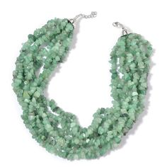 Green Aventurine Necklace (18 in) in Silvertone TGW 1175.000 cts.