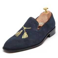 4678540fc93  150 Men s Order-Made Navy Blue Suede Leather Smoking Slipper Tassel  Embroidered Loafers By Angel
