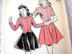 Vintage 1940s Ice Skating Dress Pattern Misses Size 12 Ice Skating Skirt with Jacket