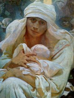 """Mother and baby detail from Mucha's Slav Epic Cycle painting entitled,""""The Celebration of Svantovit""""at the National Gallery in Prague"""