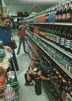Grocery store beverage aisle when everything was still bottled in glass (circa 1980)