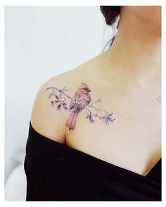 Red Cardinal Tattoos, Red Bird Tattoos, Small Bird Tattoos, Tattoo Small, Gorgeous Tattoos, Pretty Tattoos, Unique Tattoos, Colorful Tattoos, Awesome Tattoos