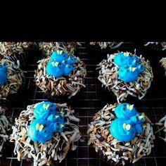 Baby bird in a nest cupcakes.