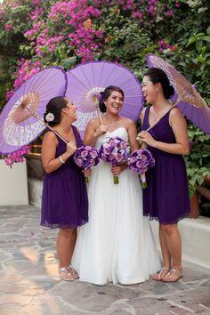 Purple and lavender destination wedding in Puerto Vallarta - LOVE the parasols:)