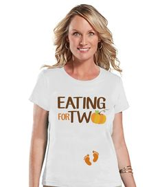 Thanksgiving Pregnancy Announcement - Eating For Two - Thanksgiving Pregnancy Reveal Tshirt - White Tshirt - Funny Pregnancy Reveal Shirt Funny Pregnant Halloween Costumes, Halloween Outfits, Halloween 2016, Thanksgiving Pregnancy Announcement, Pregnancy Humor, Thanksgiving Outfit, Stuffed Turkey, Clothes, Twin